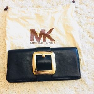 Michael kore leather black clutch gold hardware